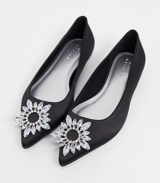 Embellished black pointed flats
