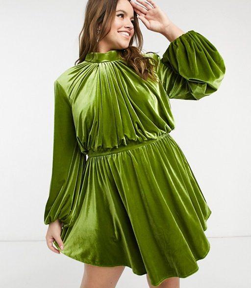 Green velvet dress from ASOS