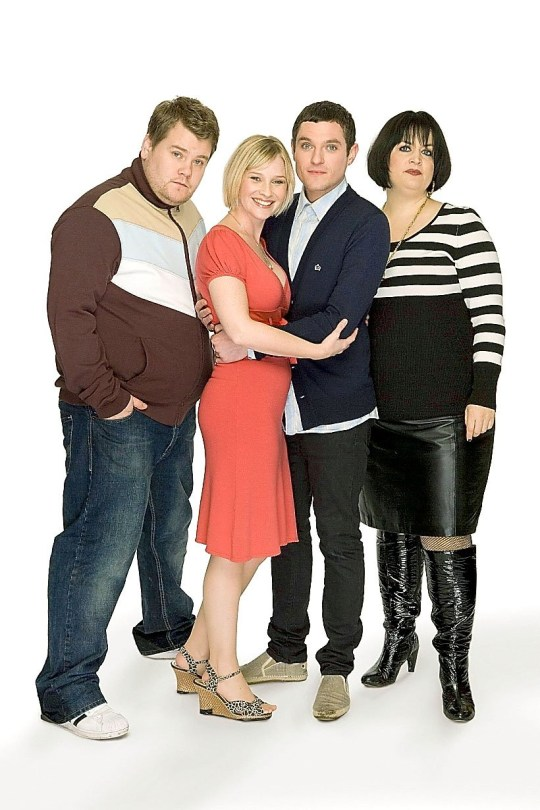 Gavin & Stacey (from left) James Corden pictured as Smithy, Joanna Page as Stacey, Mathew Horne as Gavin, and Ruth Jones as Nessa