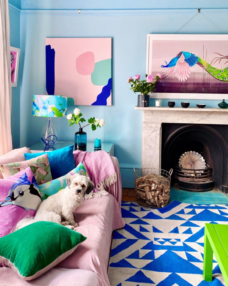 What I Rent: Anna, Crystal Palace - Duffy the dog sitting on a pink sofa