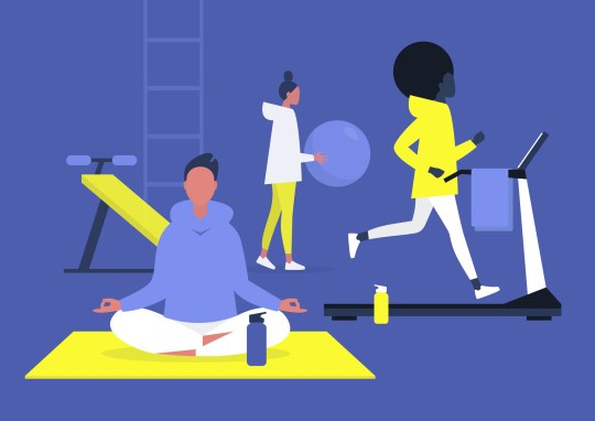 Workout in the gym scene, young adults jogging, doing yoga and aerobics, healthy lifestyle