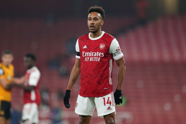 Pierre-Emerick Aubameyang of Arsenal during the Premier League match between Arsenal and Wolverhampton Wanderers at Emirates Stadium on November 29, 2020 in London, United Kingdom. Sporting stadiums around the UK remain under strict restrictions due to the Coronavirus Pandemic as Government social distancing laws prohibit fans inside venues resulting in games being played behind closed doors.