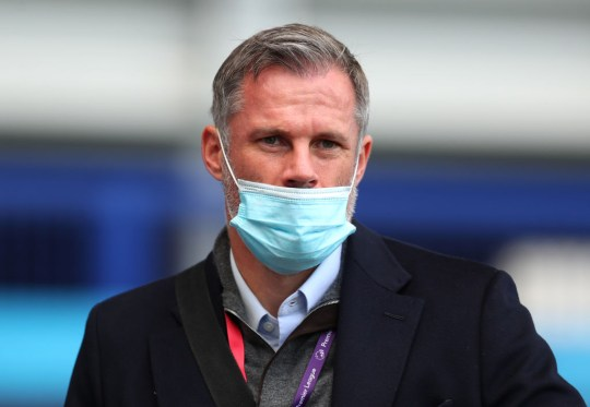Jamie Carragher looks on ahead of Everton's clash with Bournemouth