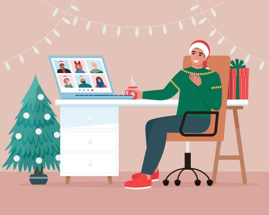 Man and his friends have online video call, celebrating Christmas or New year. Cute vector illustration in flat style