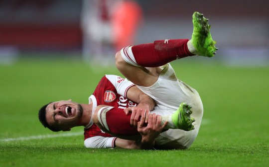 Martinelli went down holding his shin