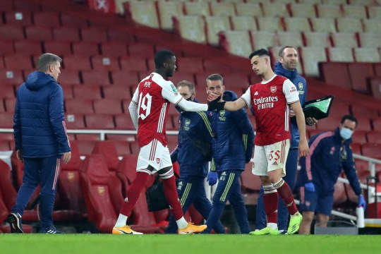 Nicolas Pepe comes on for Gabriel Martinelli during Arsenal's Carabao Cup defeat to Manchester City