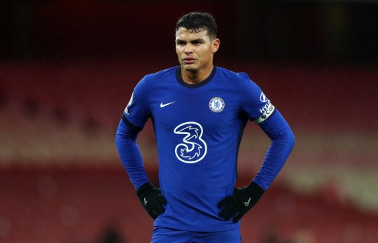 Thiago Silva looks on during Chelsea's Premier League clash with Arsenal