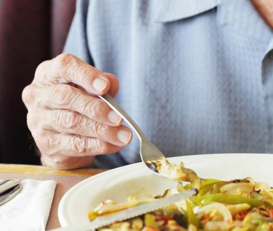 Senior Man Fingers Holding Breakfast Fork Close-Up