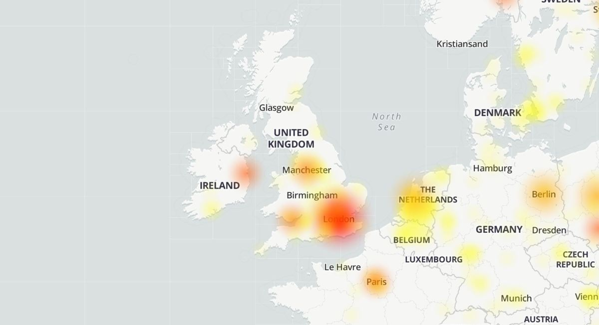 The outage map showing the scale of the Google blackout (DownDetector)