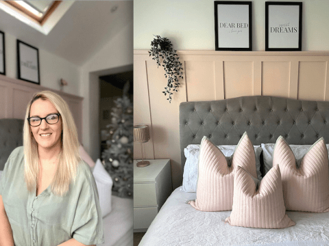 Woman transforms bedroom with stunning DIY wall panelling for just £50