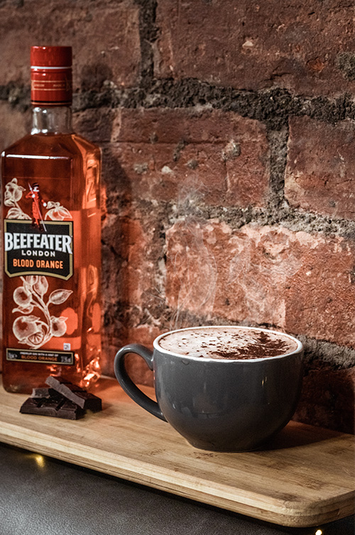 a hot chocolate orange cocktail