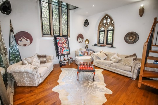 living room in converted chapel home