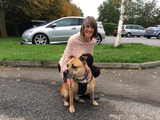 Karen and her dog after her transplant