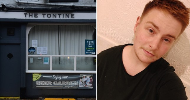 Ryan Sanderson, 23, who says he and a transgender friend were asked to leave for kissing at the Tontine pub in Hanley, Stoke-on-Trent, Staffordshire (pictured left)