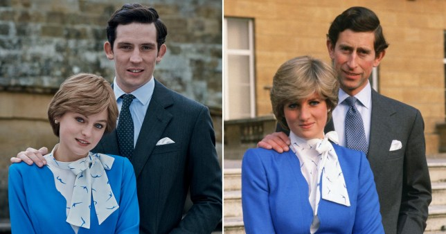Josh O'Connor and Emma Corrin in Netflix's The Crown, and Prince Charles and Princess Diana