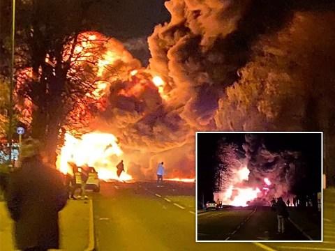 Huge fireball engulfs street as chemical lorry explodes near petrol station