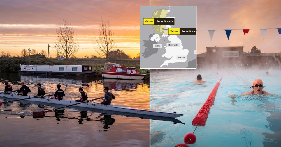 People rowing in Cambridge and a woman swimming outdoors in London