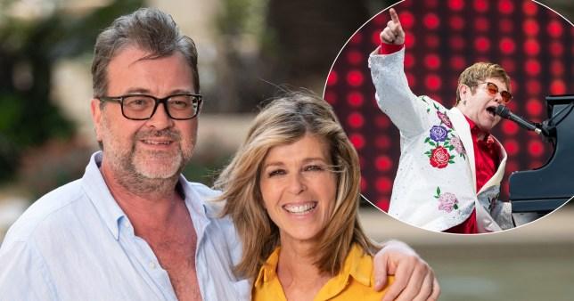 Kate Garraway and husband Derek Draper pictured separately alongside Elton John on stage