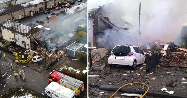 The scene of a house explosion in Illingworth, Halifax, West Yorkshire on December 5, 2020