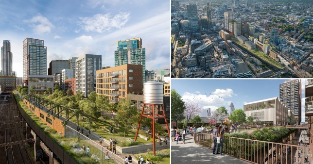 Plans for a elevated park in Shoreditch, each London