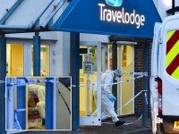 Forensic investigators at a Travelodge in Bournemouth, Dorset, on December 9, 2020 where a woman, reportedly a receptionist, was found stabbed to death after working the night shift