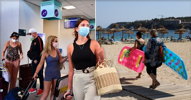 Holidaymakers wearing face masks at the airport and the beach