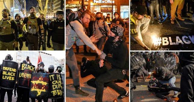 Violent scenes during protests yesterday (