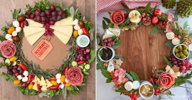 Two charcuterie wreaths