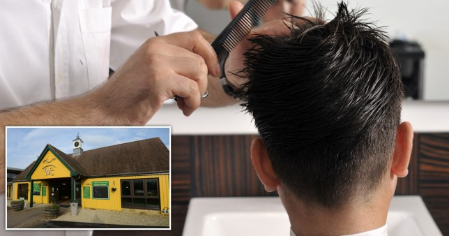 A child getting their haircut with an inset of Puxton Park
