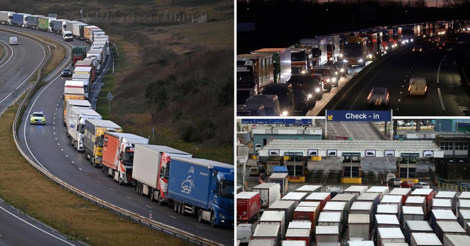 Queues on the motorway due to chaos at Britain's ports