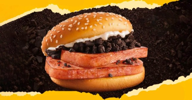 The promotional material for the Spam Oreo burger made by McDonald's in China