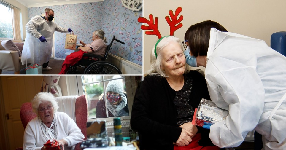 Care home residents hug loved ones during emotional Christmas Day reunions