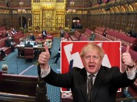 The House of Lords backs the UK's Brexit deal with the EU and Boris Johnson giving a thumbs up after signing the agreement
