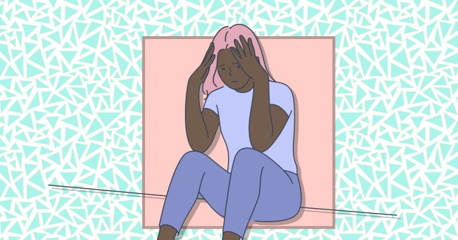 Illustration of woman grieving