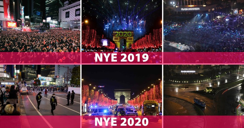 Before and after New Year's Eve celebrations