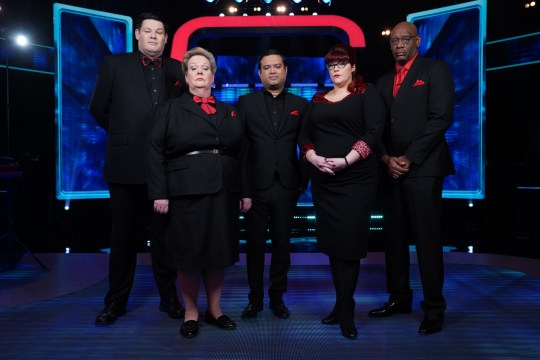 This image is strictly embargoed until 22.00 Monday 20th April 2020 From Potato Beat The Chasers on ITV Pictured: Mark 'The Beast' Labbett, Anne 'The Governess' Hegerty, Paul 'The Sinnerman' Sinha, Jenny 'The Vixen' Ryan and Shaun 'The Dark Destroyer' Wallace. This photograph is (C) ITV Plc and can only be reproduced for editorial purposes directly in connection with the programme or event mentioned above, or ITV plc. Once made available by ITV plc Picture Desk, this photograph can be reproduced once only up until the transmission [TX] date and no reproduction fee will be charged. Any subsequent usage may incur a fee. This photograph must not be manipulated [excluding basic cropping] in a manner which alters the visual appearance of the person photographed deemed detrimental or inappropriate by ITV plc Picture Desk. This photograph must not be syndicated to any other company, publication or website, or permanently archived, without the express written permission of ITV Picture Desk. Full Terms and conditions are available on the website www.itv.com/presscentre/itvpictures/terms For further information please contact: james.hilder@itv.com / 0207 157 3052