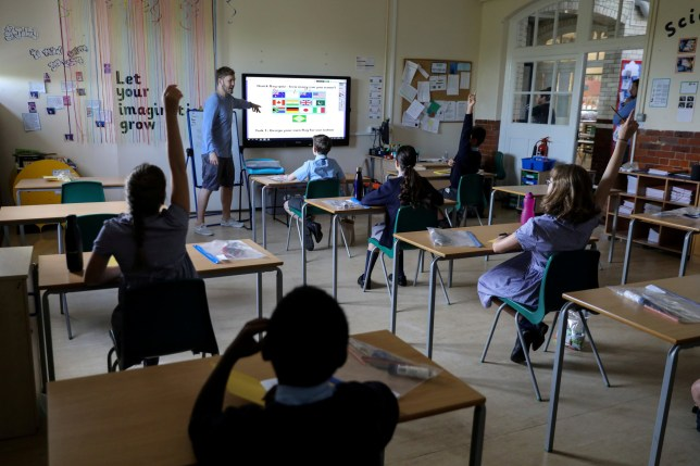 A year six classroom at St John's Primary School as some children returned to the school as the coronavirus disease (COVID-19) lockdown eases in Fulham, West London, Britain, June 2, 2020.