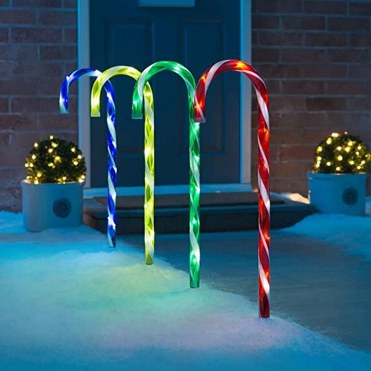 Christow large mains powered candy cane pathway lights