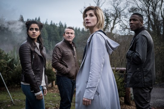 Doctor Who Series 11. Yaz (MANDIP GILL), Graham (BRADLEY WALSH), The Doctor (JODIE WHITTAKER), Ryan (TOSIN COLE)