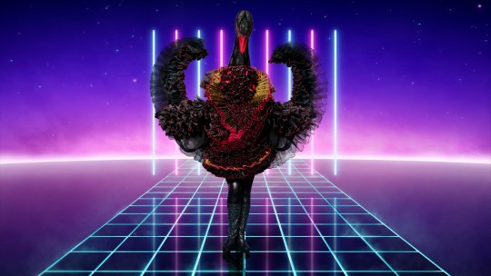 EMBARGOED TO 0001 THURSDAY DECEMBER 3 ITV undated handout photo of Swan, one of the new characters for the ITV1 singing contest, The Masked Singer. PA Photo. Issue date: Thursday December 3, 2020. The ITV show, in which a panel guess the identities of mystery stars performing in disguise in front of them, is returning for a second series with a new cast of 12 characters. See PA story SHOWBIZ Masked. Photo credit should read: Vincent Dolman/Bandicoot TV/ITV/PA Wire NOTE TO EDITORS: This handout photo may only be used in for editorial reporting purposes for the contemporaneous illustration of events, things or the people in the image or facts mentioned in the caption. Reuse of the picture may require further permission from the copyright holder.