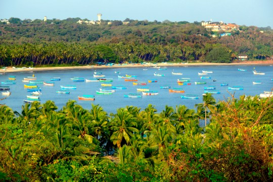 Beautiful panoramic view of Coco beach from Aguada-Siolim road in Goa (India)