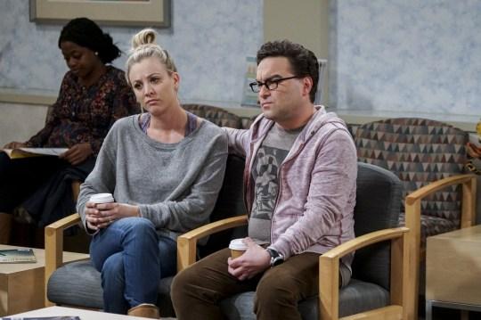 Penny (Kaley Cuoco) and Leonard Hofstadter (Johnny Galecki) in The Big Bang Theory