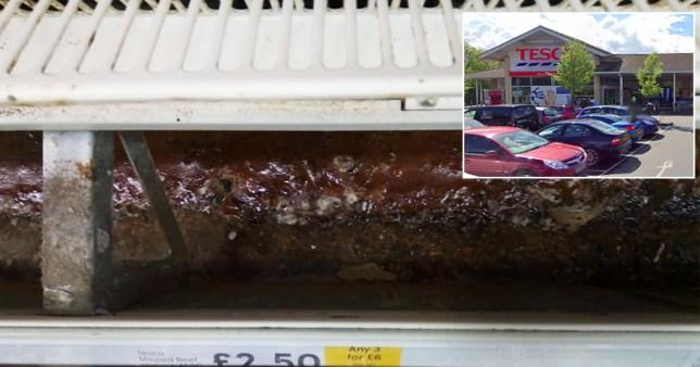 Tesco accused of 'biohazard' over gruesome-looking dirt under meat cabinet