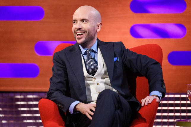 Tom Allen laughing while on the Graham Norton Show