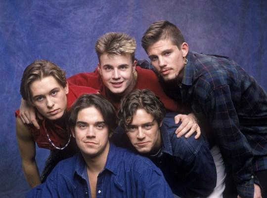 Robbie Williams, Mark Owen, Gary Barlow, Jason Orange and Howard Donald of Take That