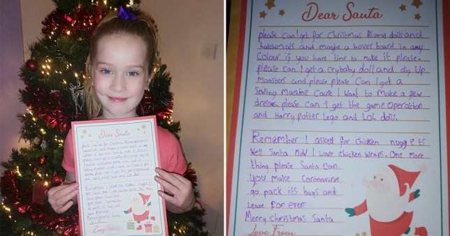 Little girl who asked for chicken nuggets last Christmas wants a chicken wrap this time around