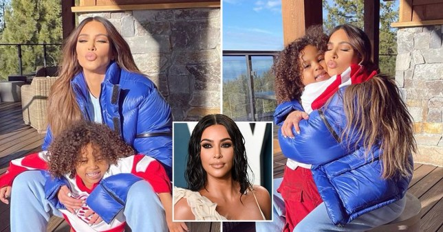 Kim Kardashian and son Saint