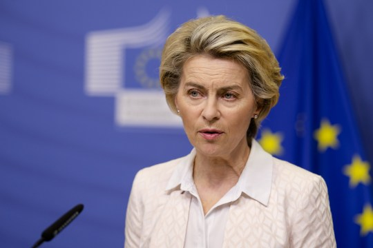 BRUSSELS, BELGIUM - DECEMBER 05: European Commission President Ursula von der Leyen makes a press statement after the telephone call with British Prime Minister Boris Johnson, on December 05, 2020 in Brussels, Belgium. (Photo by Thierry Monasse/Pool/Anadolu Agency via Getty Images)