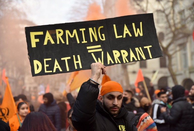 Police arrested nine people at a protest in solidarity with Indian farmers who are worried about new laws set to be introduced in September.