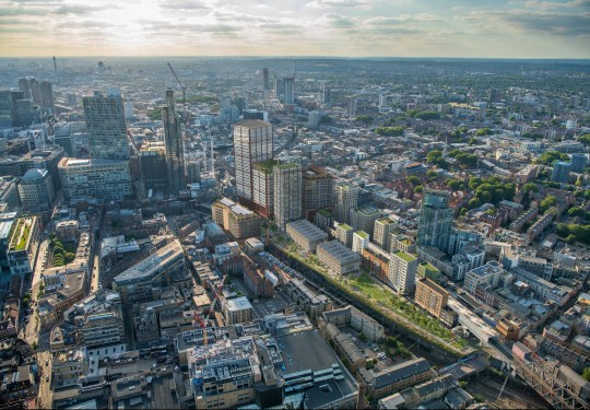 Mayor gives green light to New York style high line park in Shoreditch Aerial view